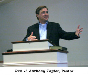Pastor Tony Taylor at the pulpit
